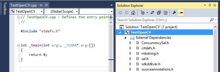 New Project Cpp TestOpenCV VS Express 2013