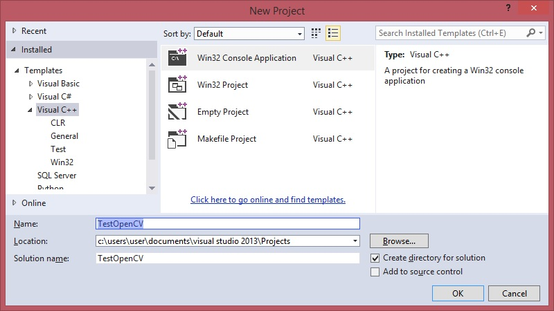 New Project Cpp VS Express 2013
